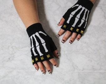 Studded Gloves Skeleton Fingerless Gloves