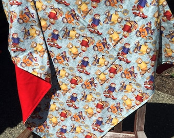 Flannel Baby Blanket / Kid Car Blanket - Bears Teddy Bears Playing Sports Soccer Tennis Football, Personalization Available