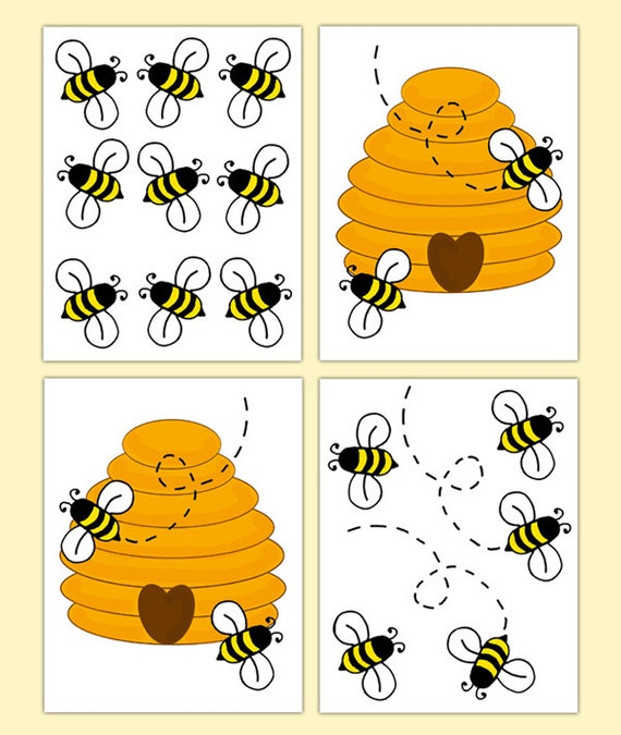 BUMBLE BEE HIVE Nursery Decor Decal Wall Art Stickers Baby