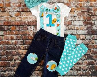 Oh The Places You'll go First Birthday Bow Tie and Suspender Bodysuit, Pants, Leg Warmers, Hat, Cake Smash, Personalized, 1st Birthday