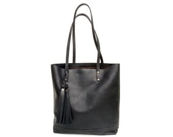 The Panama Tote in Black- soft, buttery full grain leather