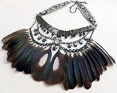 Chainmail and Magpie Feather Bib Necklace, assemblage necklace, multi-strand necklace