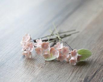 Flower bridal hair pins - wedding hair pins - peach wedding flower accessory - bridal hair jewelry - bridal hair piece - floral hair pins
