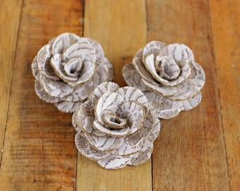 Burlap Lace  Rustic Eco-friendly Roses for Weddings, Home Decorations, Scrapbooking and Floral Arrangements