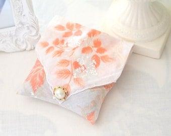 Vintage Handkerchief and Earring, Handmade Sachet, Fragrant Dried Lavender Sachet, Drawer Freshener, Gifts for Her