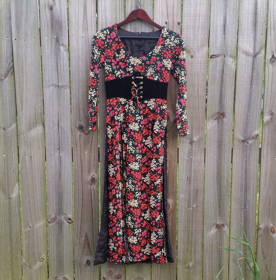 XS XXS Extra Small Vintage 60s 70s Faux Corset Disco Trippy Psychedelic Hippie Groovy Funky Maxi Dress