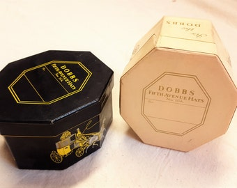 Pair of Vintage Dobbs Fifth Avenue Mini Hat Boxes Sales Man Sample Box  T1