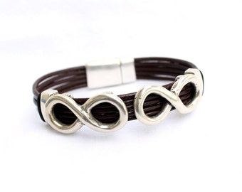 Double infinity leather bracelet for men, for women, multi strand leather and silver plated,