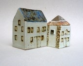 Small House ,Tall Building , Blue Roof  House, Scottish Farmhouse , Ceramic Sculpture , Miniature Architecture
