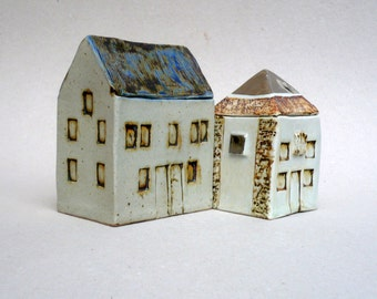 Blue Roof  House, Scottish Farmhouse , Ceramic Sculpture , Miniature Architecture