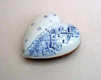 Heart Pillow ,Blue And White  Ceramic Sculpture,   Ceramic Heart , Blue Lace