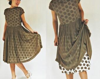 sale 1950s / 1960s Illusion Brown Polka Dot Party Dress