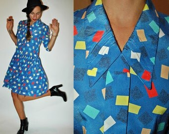 1980s Confetti Art School Sky Blue Drop Waist Dress