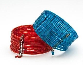 Set 2 Vintage Beaded Cuff Bracelets, Red & Blue Adjustable Seed Beaded Cuff Bracelets, Boho Multi Strand Bangle Bracelets, Retro Fashion