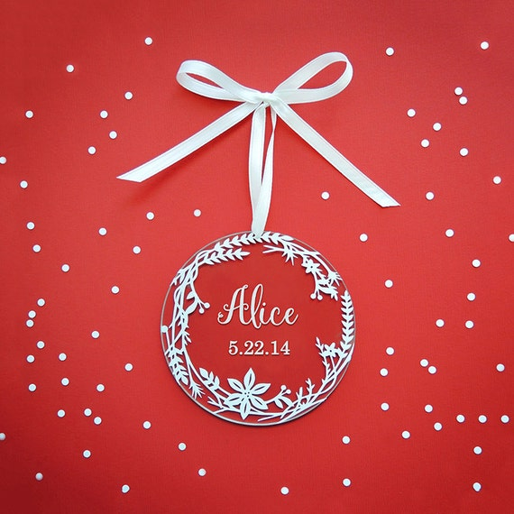 Personalized Holiday Ornaments - White Wreath - Acrylic Christmas Ornaments