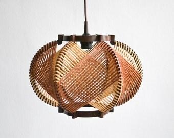 Rustic 60s sisal lamp, vintage hemp rope lamp, string lamp, 60s pendant lamp