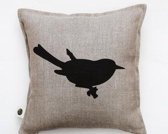 Bird pillow - decorative bird pillow cover - cushion case - throw pillow - bird print on pillow - bird on branch pillow - linen pillow- 0325