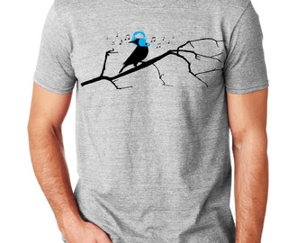 Bird and Tree T-shirt | Bird T Shirt | Men's Graphic Tee | Music | Gift for him