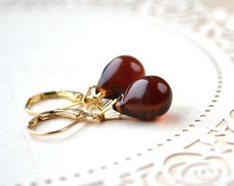 Brown Bead Earrings, Glass Drop Earrings, Teardrop Earrings, Gold Leverback Earrings, Brown Earrings, Fall Earrings, Small Drop Earrings, UK