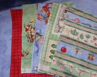 Quilting Cottons, Fabric Bundle - Woodsy Wonders Collection - J Wecker Frisch for South Seas Imports, 7 Fabrics, About 3 Yards