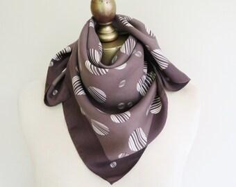 1960s polka dot scarf, taupe spots, vintage scarves, brown silk scarf, vintage silk sqaure scarf. 60s headscarf, brown hairwrap