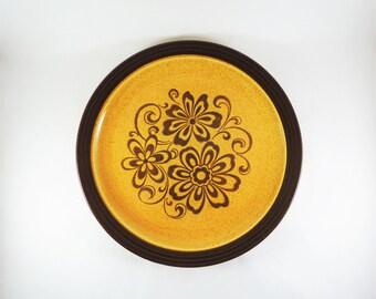 """Vintage Serving Platter, Homer Laughlin China 12"""" Platter, Gold Glade Pattern, 1970s Gold, Hearthside Line, Gold and Brown Floral Stoneware"""