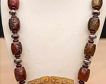 Red Serpentine Jade Necklace