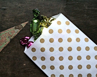 Party or wedding favor bags, set of 50 white kraft paper bags with gold polka dots. Candy buffet, goodie bags, bitty bags.