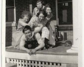 Old Photo Women on Top of Man on Porch 1920s Photograph  Snapshot vintage