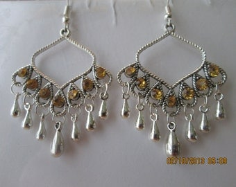 Silver Tone Chandelier Earrings with Gold Rhinestones  and a Silver Teardrop  Dangle