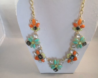 Gold Tone Chain Necklace with Multi Color Crystal Bead Pendants
