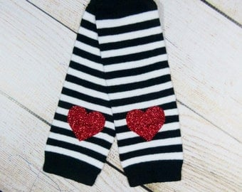 Baby Girl Leg Warmers Black Red Glitter Hearts Leggings Baby Girl Clothes