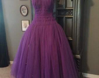 "50s Purple Tulle Emma Domb Party Dress 30"" waist"