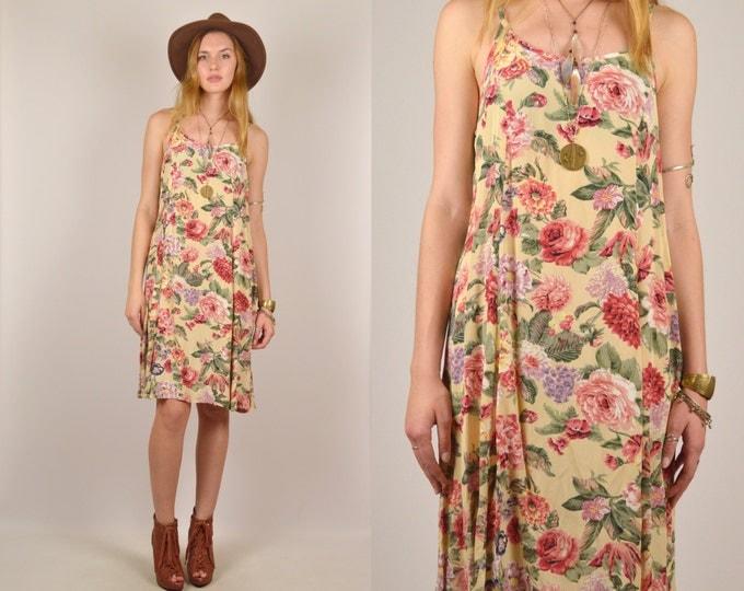 Vintage Rose Print Summer Dress Floral Midi 90's