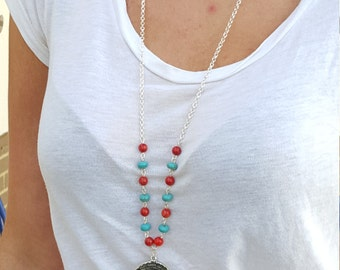 Long Padre Nuestro (Lord) pray Necklace with Coral and Turquoise Beads.