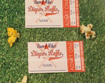 Little All Star Diaper Raffle, Baseball Ticket Diaper Raffle, Diaper Raffle Cards, Baby Shower Diaper Raffle