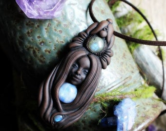Labradorite and Moonstone Goddess Necklace. Handcrafted Clay & Gemstone Pendant.