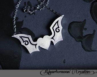 Gothic Bat Necklace, Laser Cut, Black, Silver Metallic, Horror Necklace, Sci Fi Art, Bat Necklace, Heart