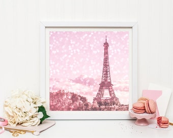 Pink Eiffel Tower print - Pink Paris Print - Paris nursery