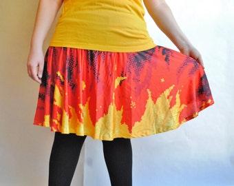 Pixel Fire Skater Skirt