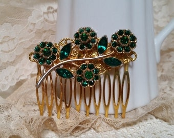 VINTAGE BRIDAL Rhinestone Hair Comb Assemblage Emerald Green and Gold Floral Baguettes Mother of the Bride Heirloom Wedding One of a Kind