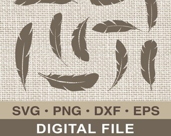 Feather SVG Clipart Feather Silhouette DIY Cutting file png dxf Cricut Design Space eps Instant Download