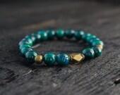 Green Phoenix Stone beaded stretchy bracelet with bronze beads custom made yoga bracelet, mens bracelet, womens bracelet