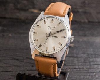 Vintage Poljot mens watch, vintage mens watch, soviet mechanical wrist watch, vintage russian watch ussr ccp soviet watch