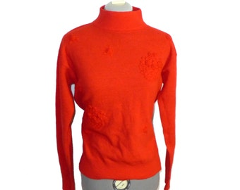 FINAL SALE Hand embroidered lambswool wool floral tomato red / blood orange sweater - Hong Kong made, roses Patrick