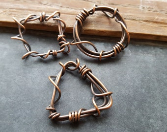 Handmade Copper Jewelry Components - Wire Wrapped Connectors - Geometric Circle Square Triangle Findings - Set of 3 - The Bead Hutch