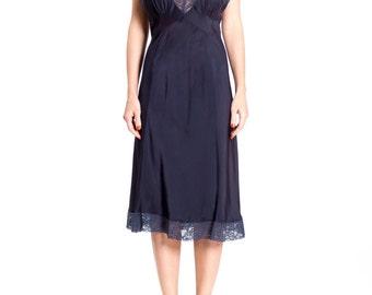1940s Navy Blue Silk Lace Trim Lingerie Midi Slip Dress