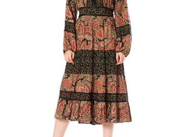 Vintage 1970s Boho Gypsy Paisley Floral Print Bishop Sleeve Maxi Dress  Size: XS/S