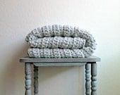 Chunky Grey Wool Blanket / Throw Blanket / Crochet Blanket / Ready to Ship!