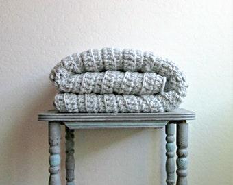 Chunky Grey Wool Blanket / Throw Blanket / Crochet Blanket / Ready to Ship!